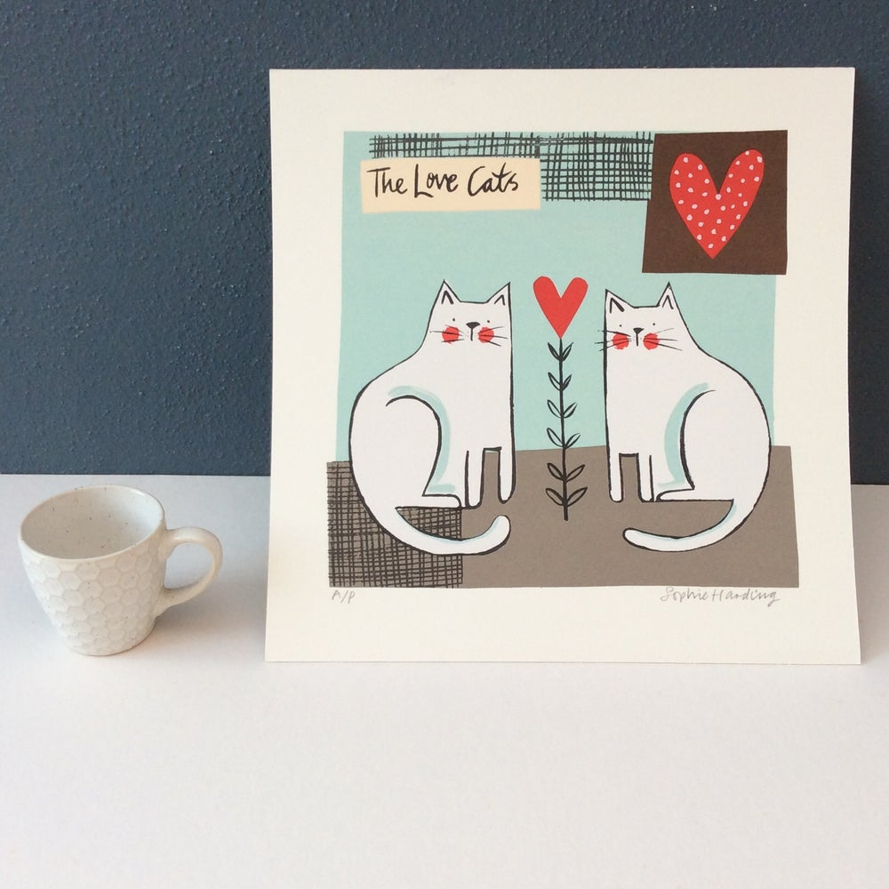 Image of The Love Cats silk screen print