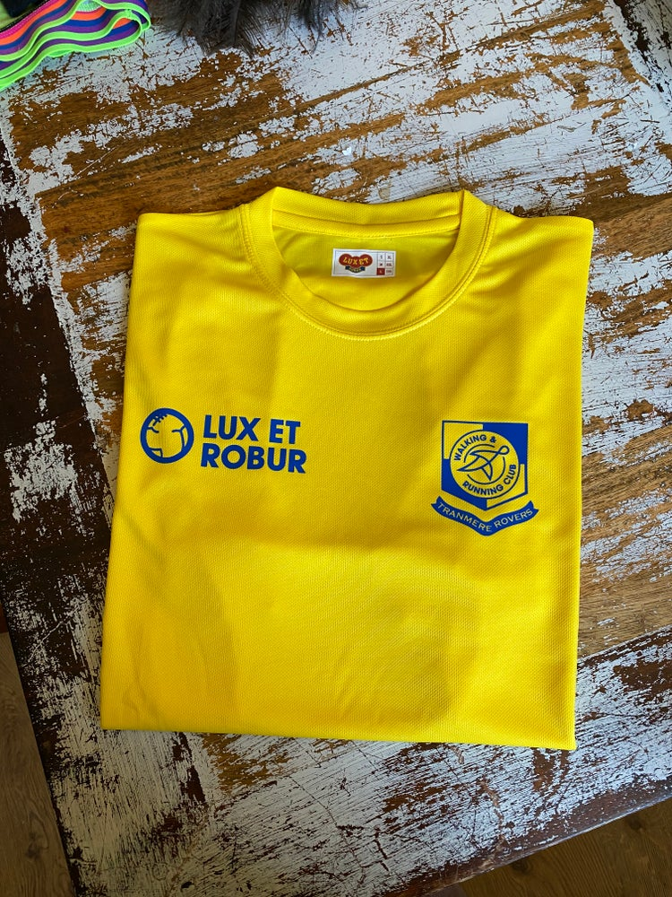 Image of Tranmere Rovers Running & Walking Club SS T-shirt // Sun Yellow/Royal