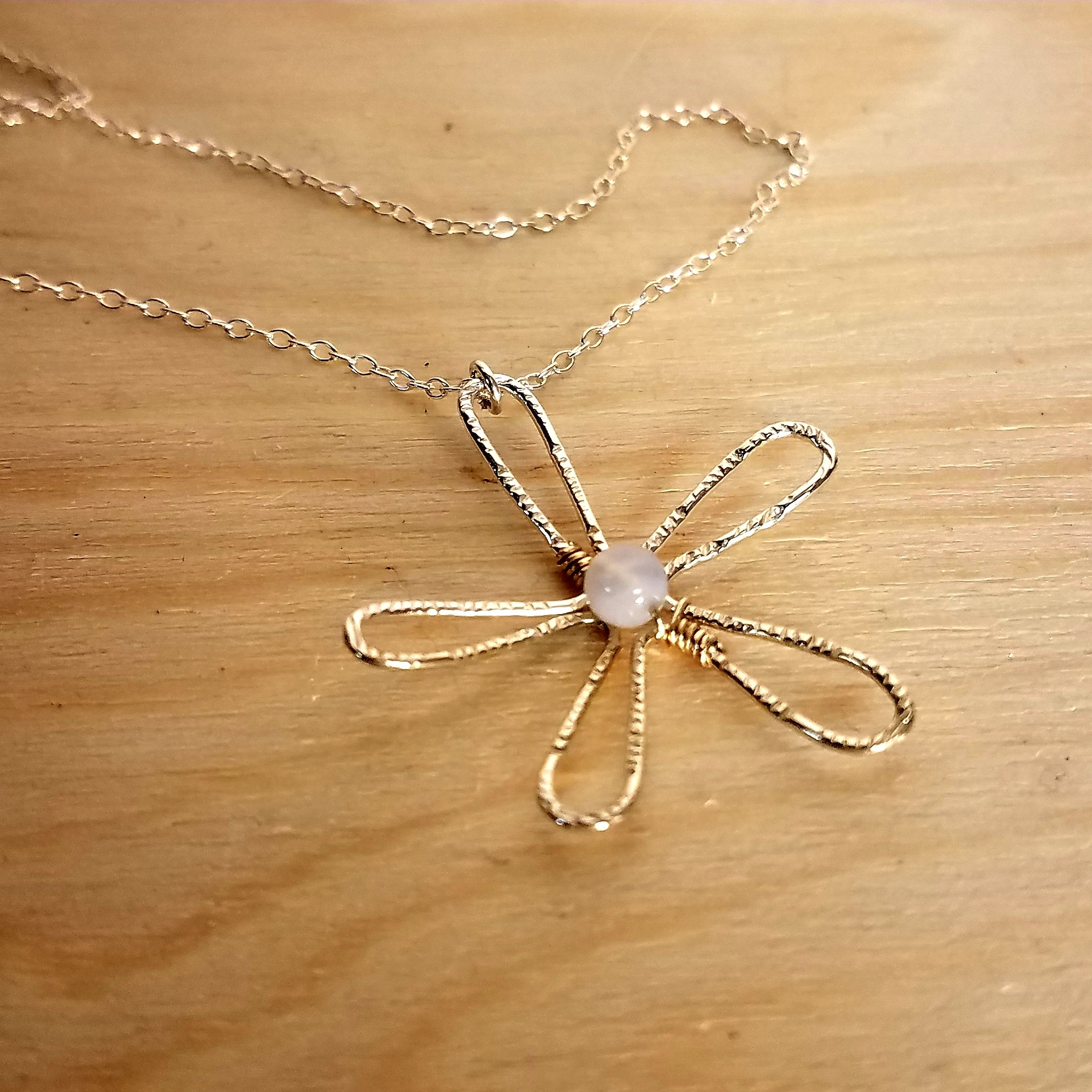 White Flower pendant Minimalist pendant. Mother pearl pendant