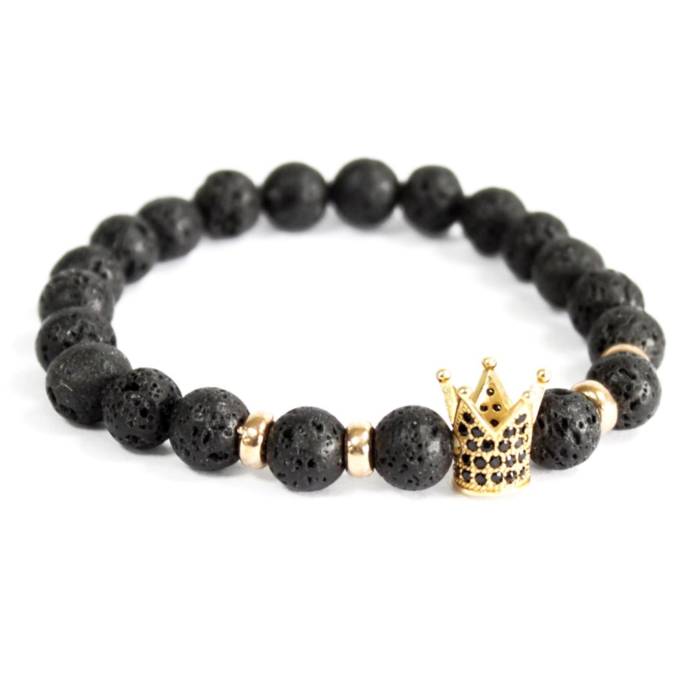 Image of Bracelet Lava Stone with Gold Crown