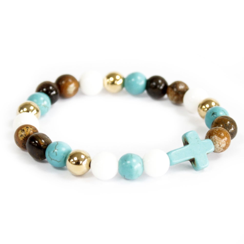 Image of Bracelet Royal Beads with Turquoise Cross