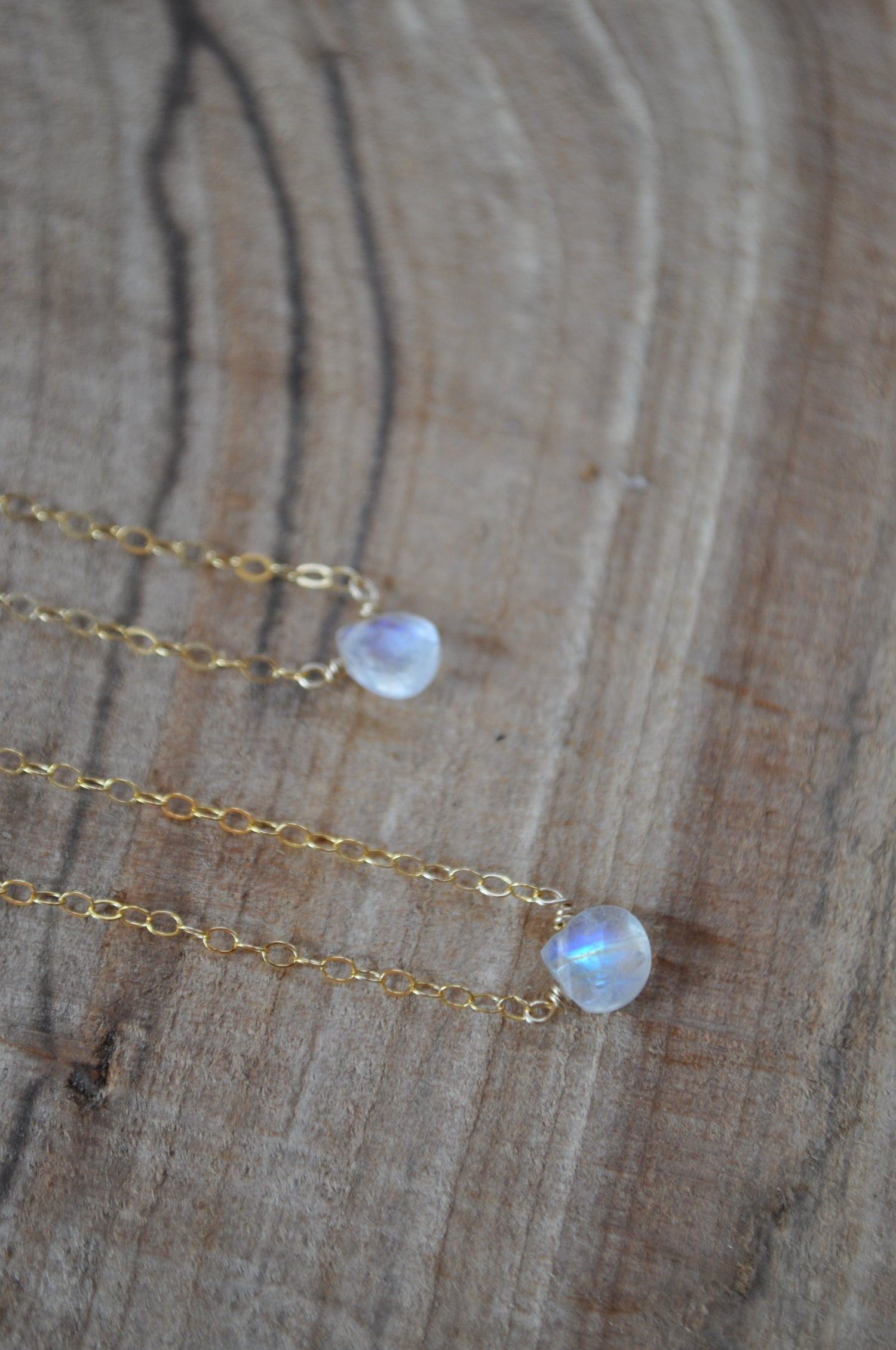 Image of Rainbow Moonstone Teardrop Necklace - on Gold Fill