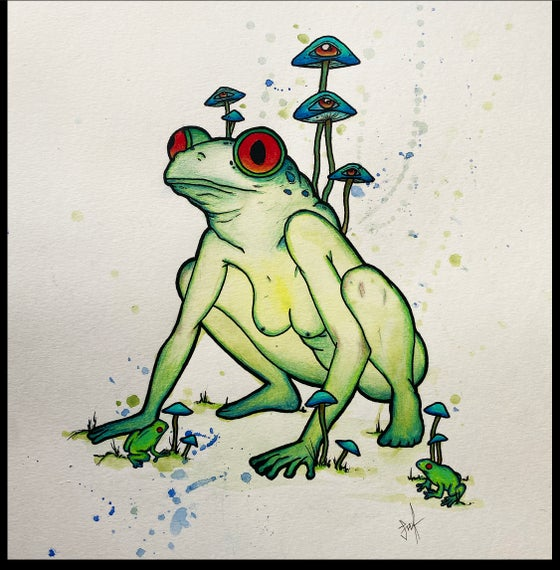 Image of Original Painting & Prints- Lady amphibian green