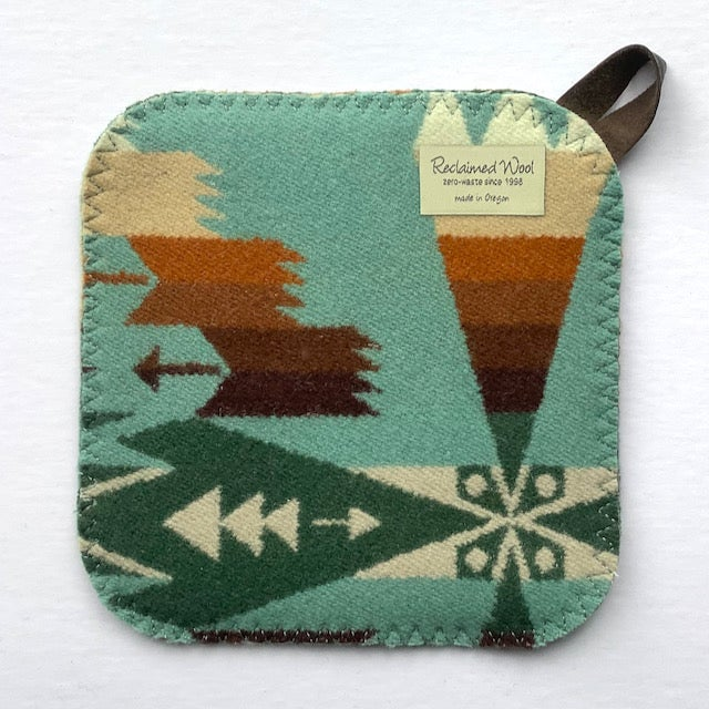 Image of Western Wool Potholder - Greens & Tans