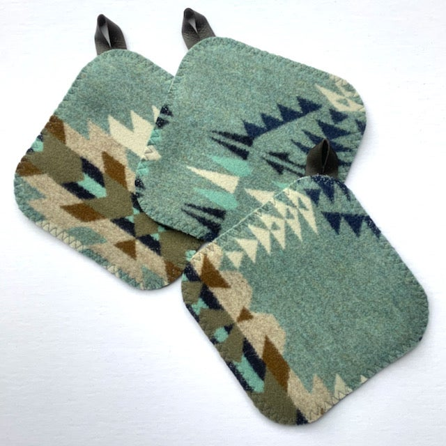 Image of Western Wool Potholder - Soft Green