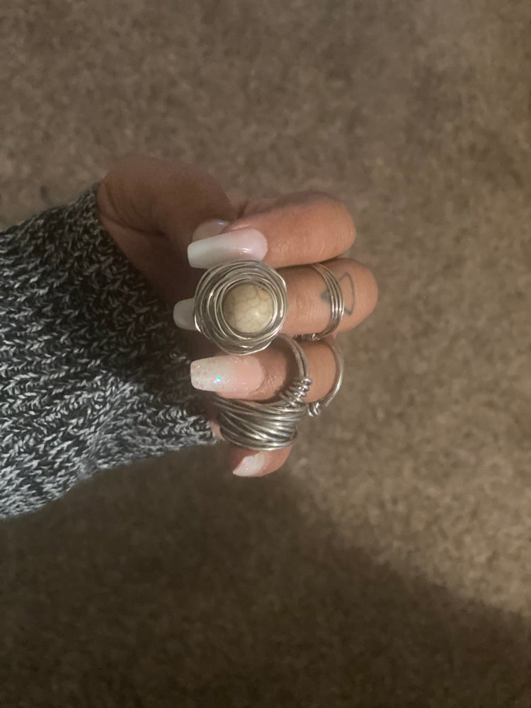 Image of 3 Stainless Steel Wire Wrapped Rings for $18 -FREE SHIPPING