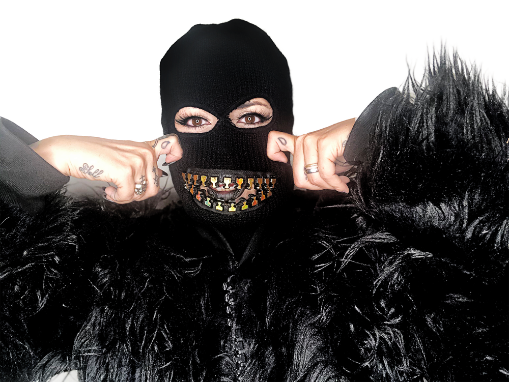 Image of  Ski mask with oversized GOLD holographic zipper mouth grill teeth mask