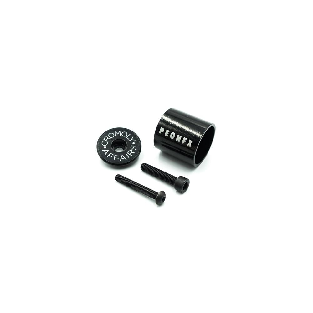 Image of TOP-A  Black stem top cap and Aluminium light mount combo