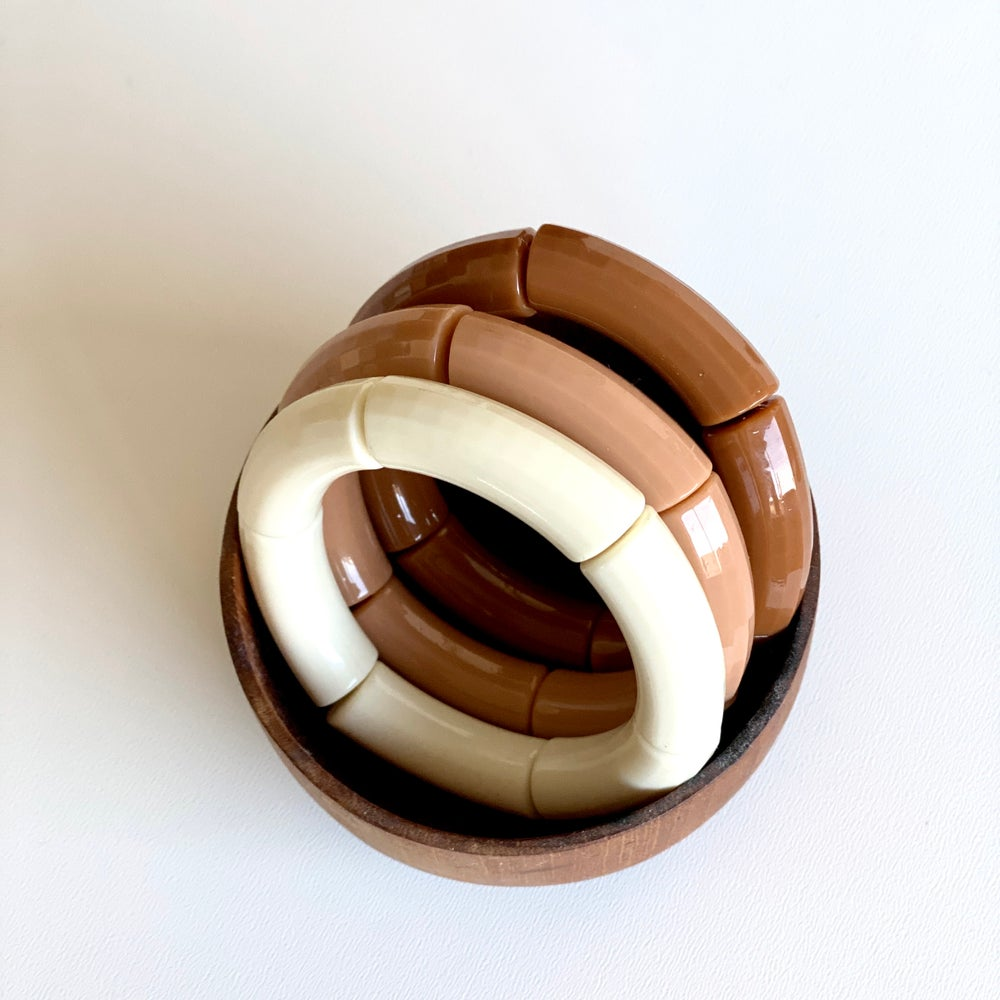 Image of Bracelet résine // ivoire,  café au lait, ou caramel