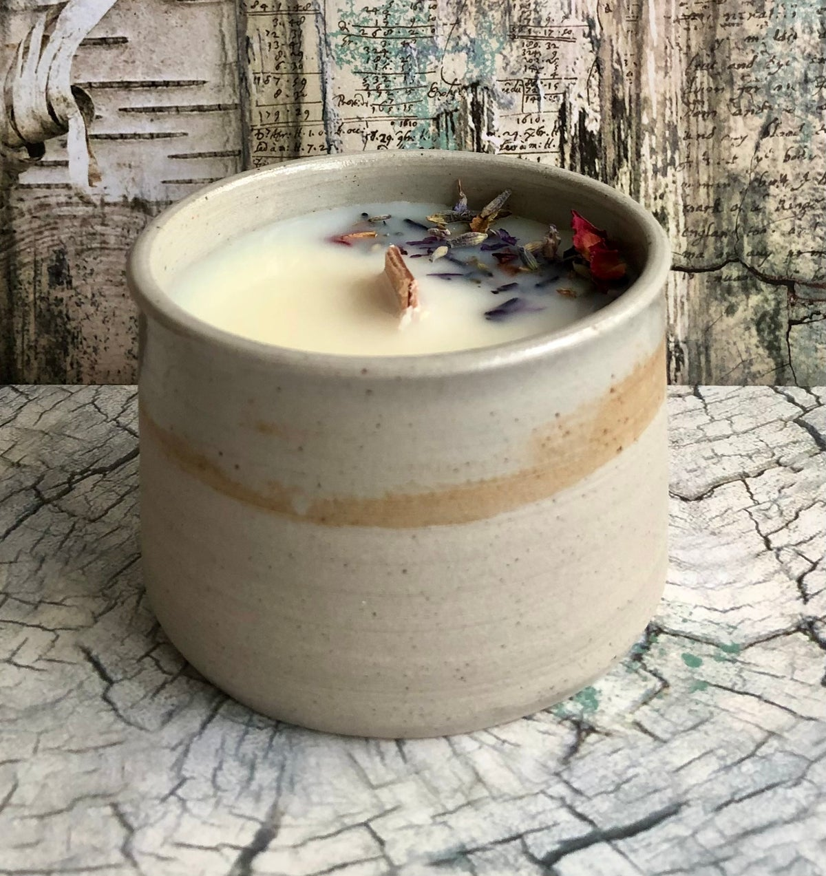 Image of Hand Thrown Pottery Candle Pots in Wild Calm