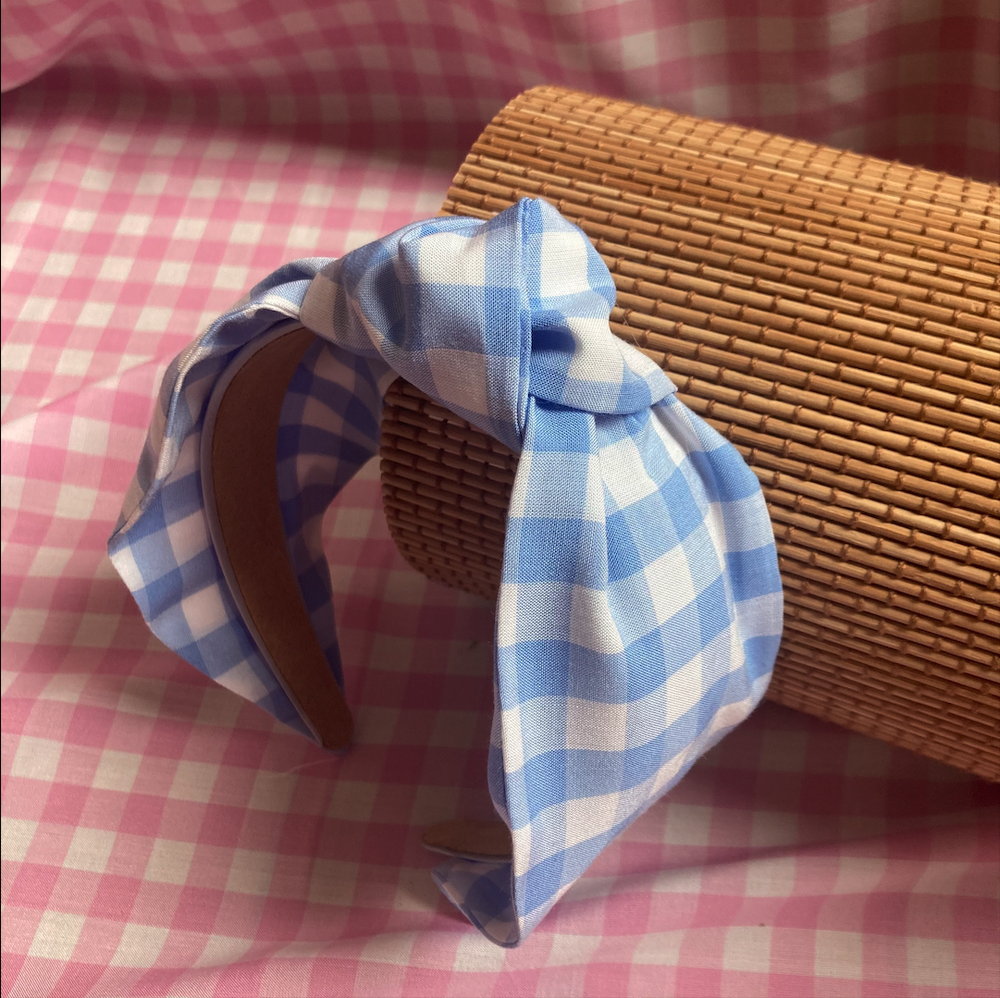 Image of 'Perri' Blue Gingham Knot Headband