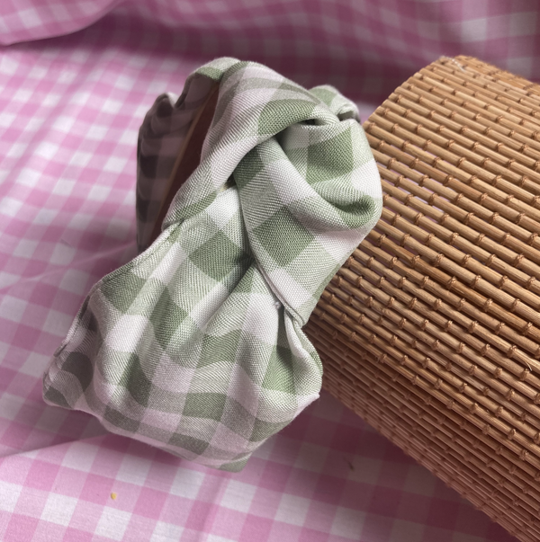 Image of 'Clover' Green Gingham Knot Headband