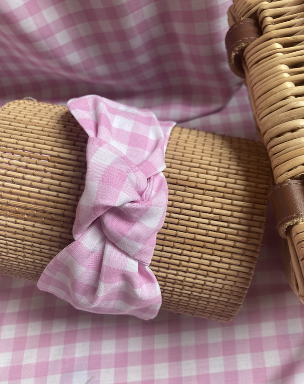 Image of 'Candy' Pink Gingham Knot Headband