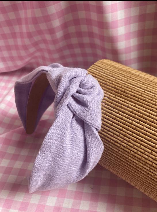 Image of 'Lila' Lilac Purple Linen Viscose Knot Headband