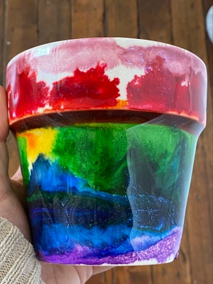 Image of Rainbow Resin Cachepot #1
