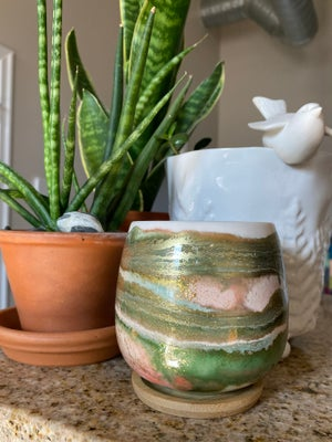 Image of Mini Resin Planter with Bamboo Saucer #2