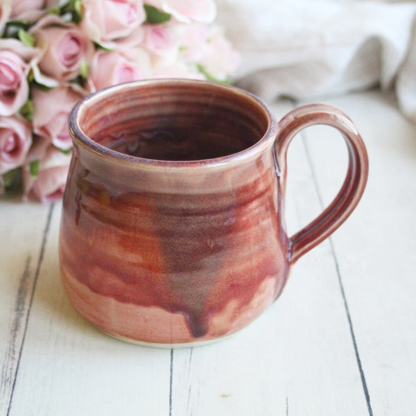 Image of Earthy Mango Glazed Mug, Handmade Pottery Mug 16 ounce, Made in USA