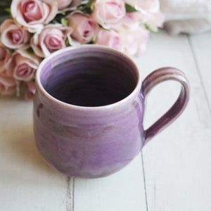 Image of Shades of Purple Mug, Handmade Stoneware Coffee Cup, 16 Ounce, Made in USA