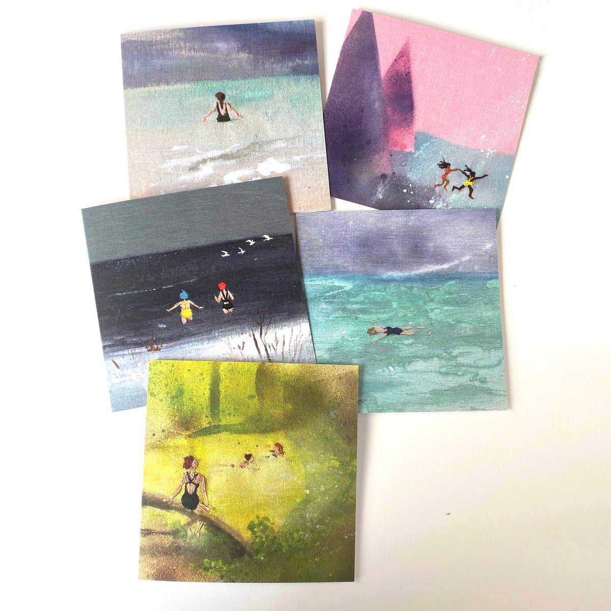 Image of Wild Swimming - set of 5 'embroidered' luxury greeting cards