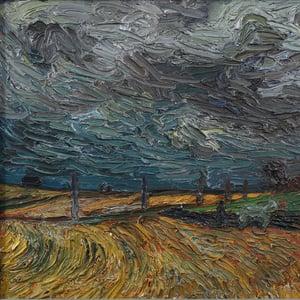 Image of 1945, Swedish Impasto Painting, 'Storm Across the Plain'