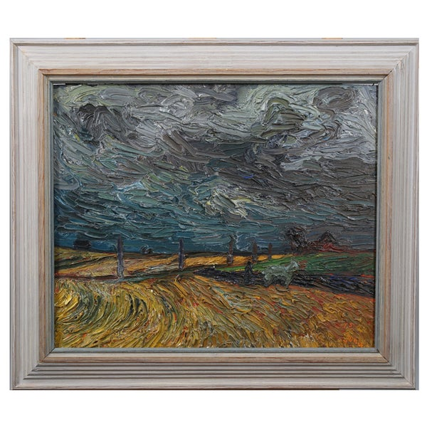 Image of 1945, Swedish Impasto Painting, 'Storm Across the Plain'