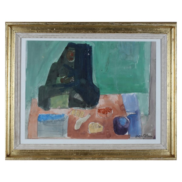 Image of Mid Century, Swedish Painting, 'Market Dealer,' LENNART ROSENSOHN