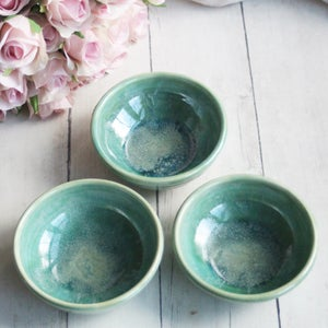 Image of Handmade Pottery Prep Bowls in Shimmering Green Glaze Made in USA