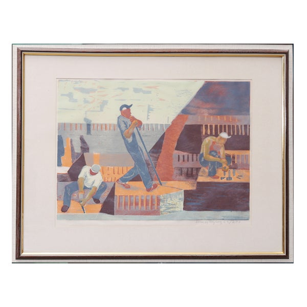 Image of Mid-century, Swedish Woodcut, 'Construction Workers.'