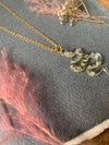 'Serpent's Tongue' pendant with gypsophila - small