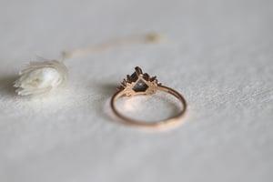 Image of 18ct Rose gold, rose cut grey, kite shape diamond ring (IOW173)