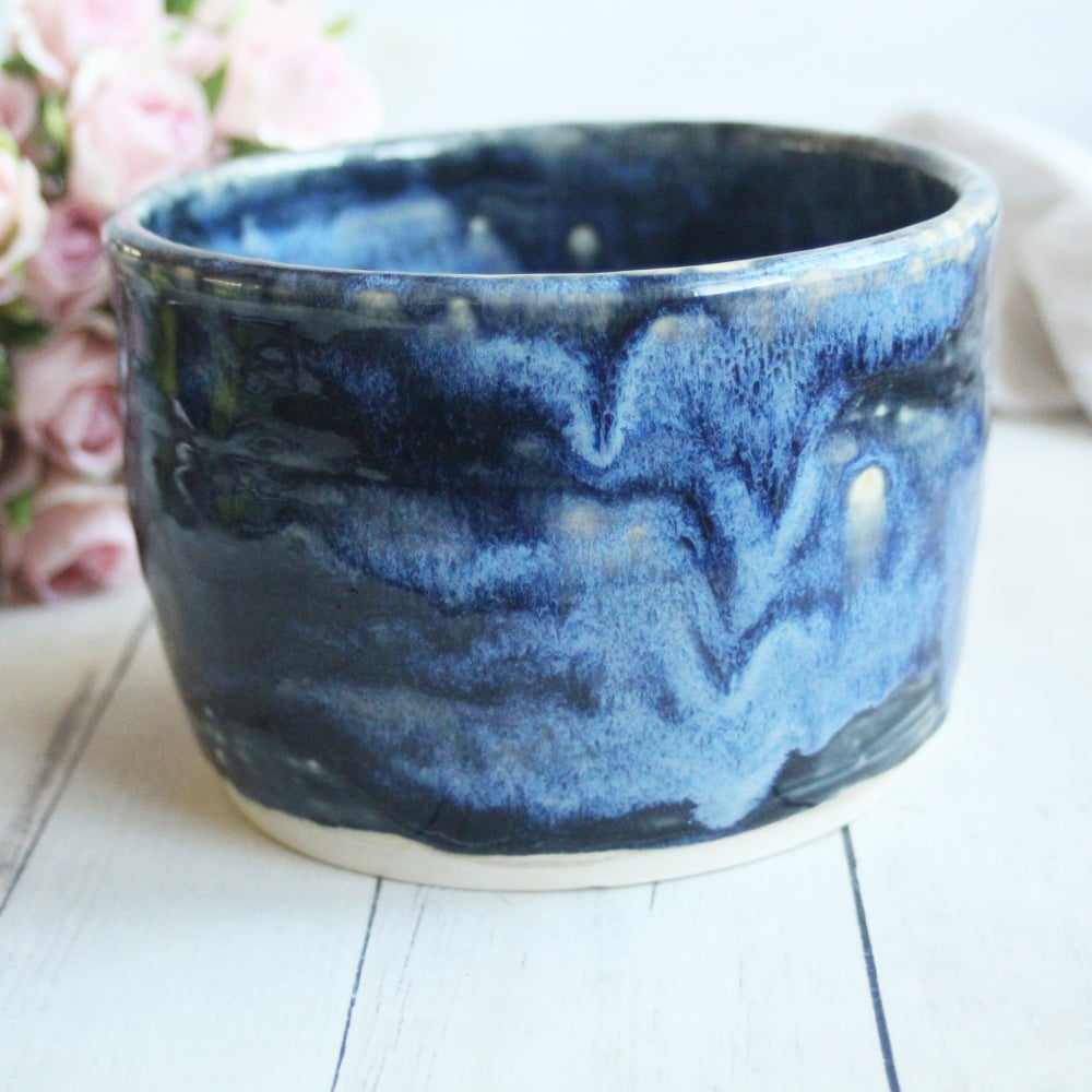 Image of Custom Order for Daniela - Handmade Kitchen Crock in Black and Blue Starry Night Glaze
