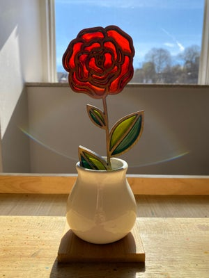 Image of Cut Flower Stained Glass in Ceramic Vase #8