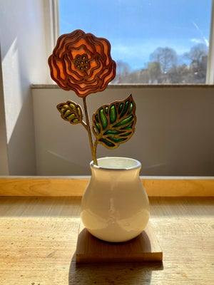 Image of Cut Flower Stained Glass in Ceramic Vase #4