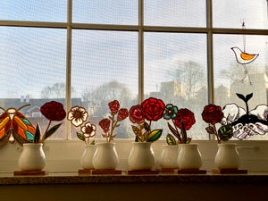 Image of Cut Flower Stained Glass in Ceramic Vase #2