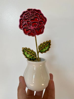 Image of Cut Flower Stained Glass in Ceramic Vase #1