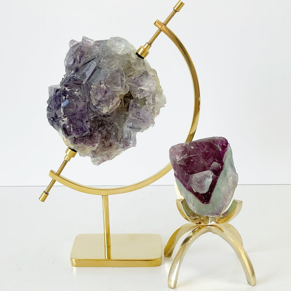 Image of Bicolor Fluorite no.125 + Brass Arc Stand