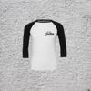 3/4 SLEEVE BASEBALL  T-SHIRT (BLACK AND WHITE)
