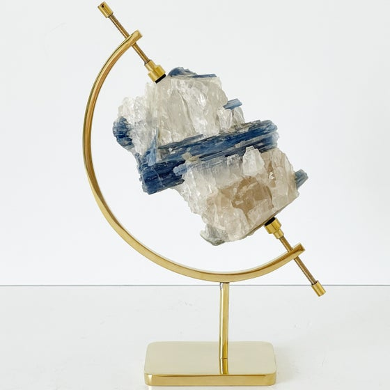 Image of Blue Kyanite no.66 + Brass Arc Stand