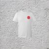 100% Organic White Short Sleeve T-Shirt with Sun Logo