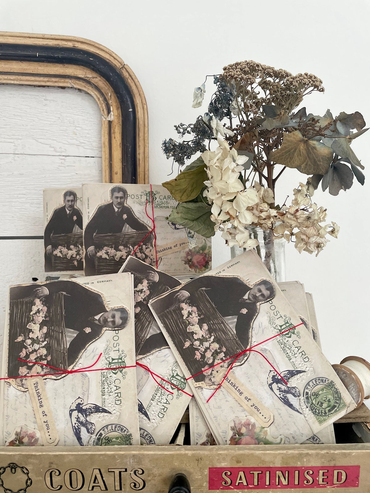 Image of 'Man with flowers' bundle of eight postcards
