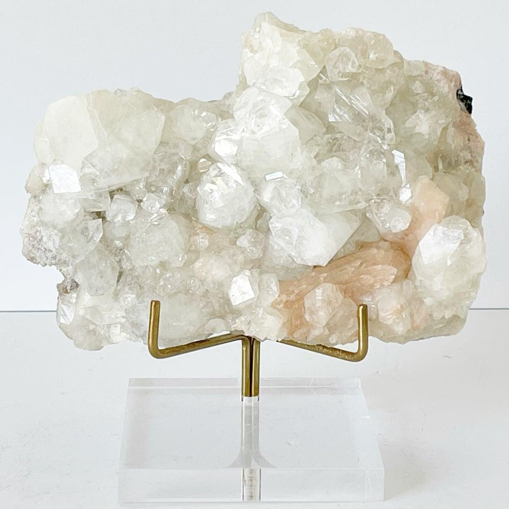 Image of Apophyllite/Stilbite no.19 + Lucite and Brass Stand