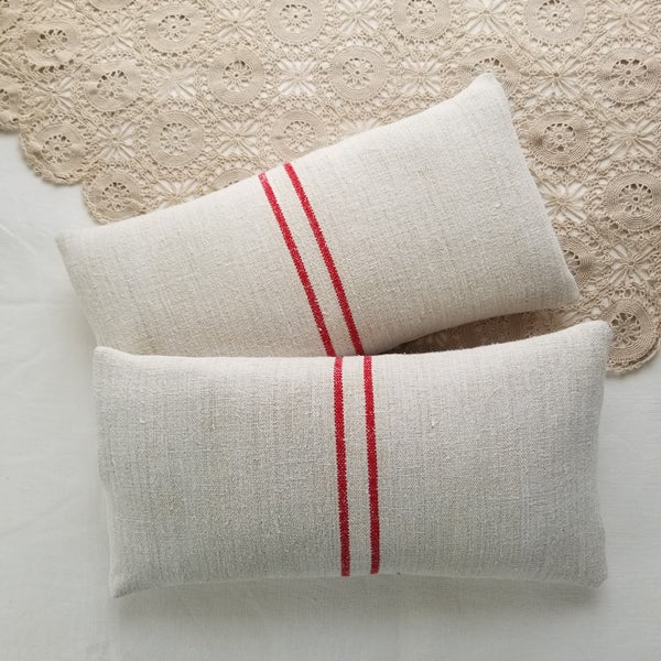 Image of  Pair - Grainsack Cushion Small - Red SB 3