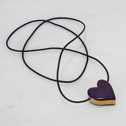 Image of Purple Heart Wooden Pendant, Wood Charm, Minimalist Jewelry, 5th Wedding Anniversary Gift