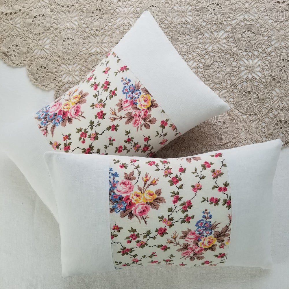 Image of Pair - Antique French Floral Cushions - A 9