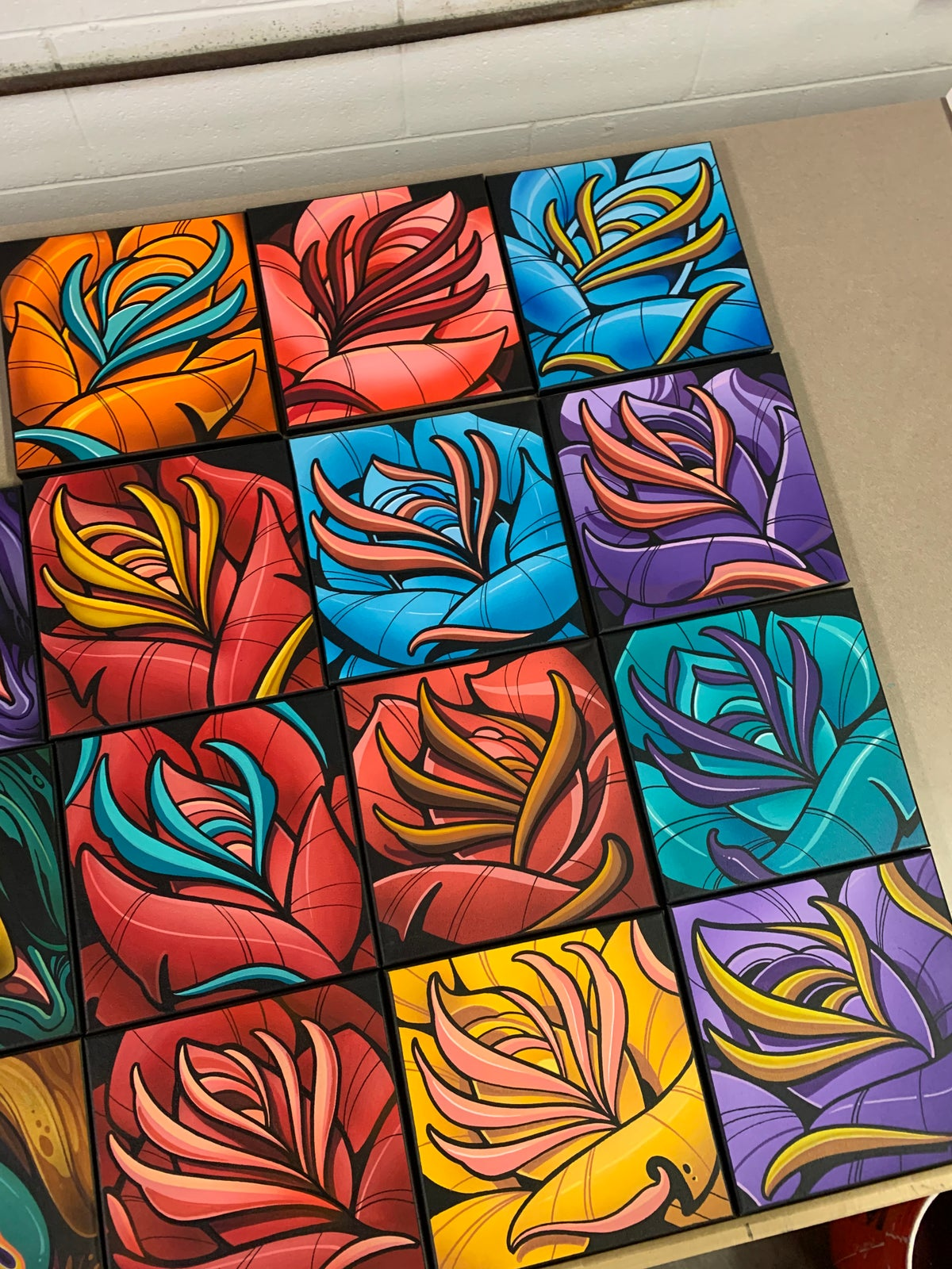 Image of 10x10 Skull/Rose Canvas Commissions