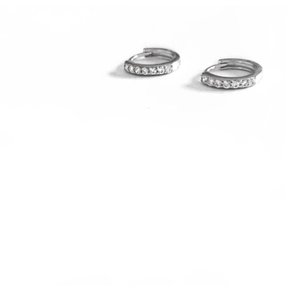 Image of Sterling Silver Diamanté Huggie Hoop Earrings
