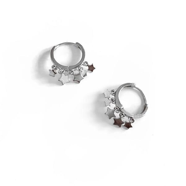 Image of Sterling Silver Star Huggie Hoop Earrings