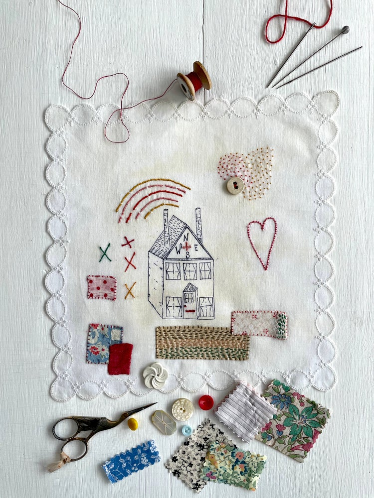 Image of 'House & rainbow' souvenir handkerchief