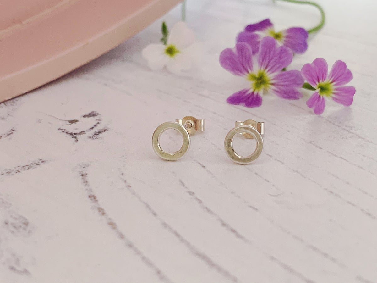 Image of Mini open circle studs, recycled sterling silver.