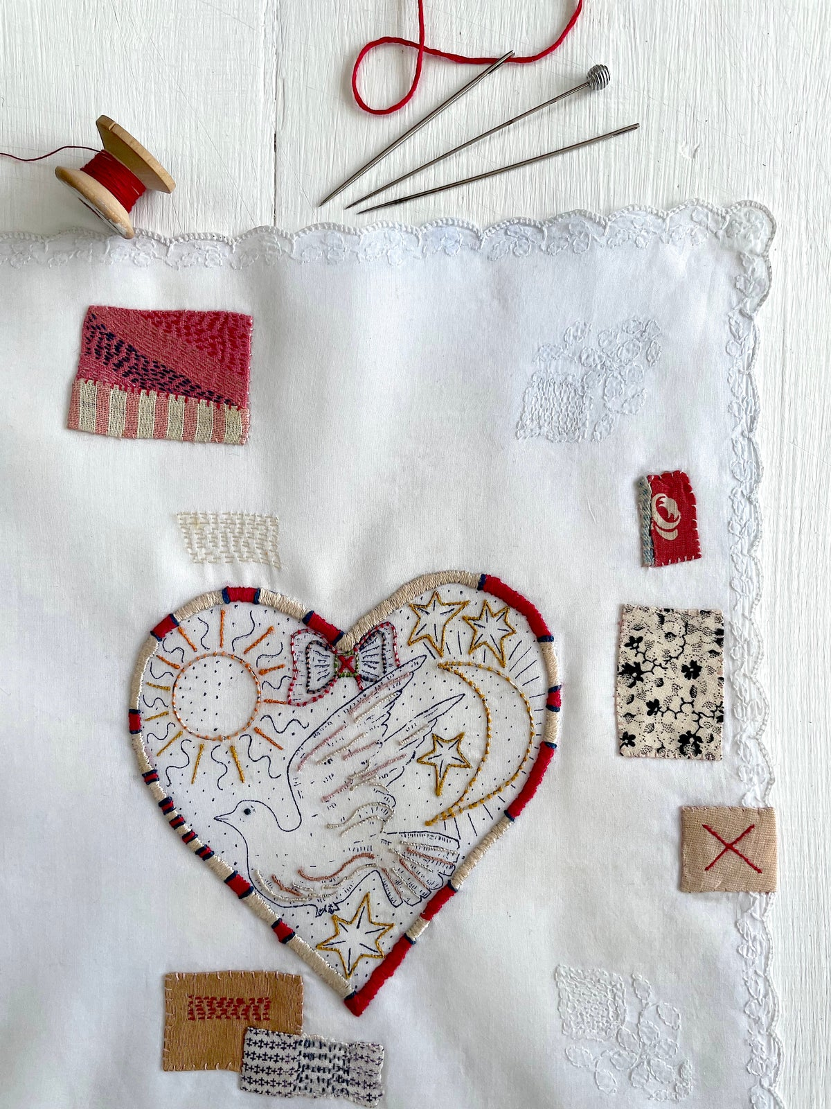 Image of 'Heart & dove' souvenir handkerchief